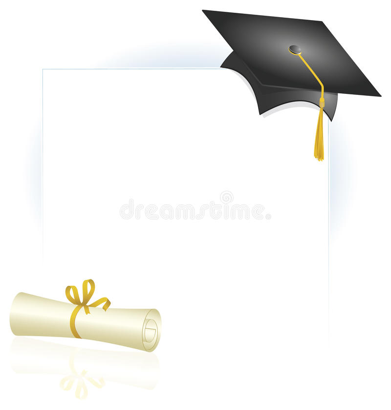 Graduation Cap and Diploma Page Layout vector illustration