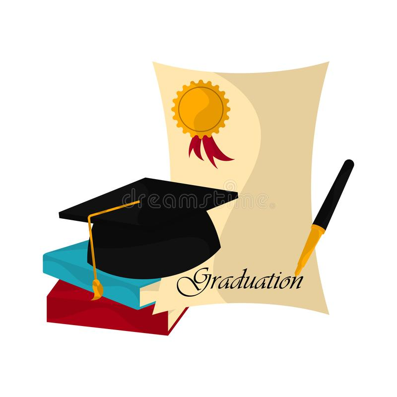 Graduation objects illustration. Graduation cap with diploma, pen and books. Graduation concept - Vector royalty free illustration