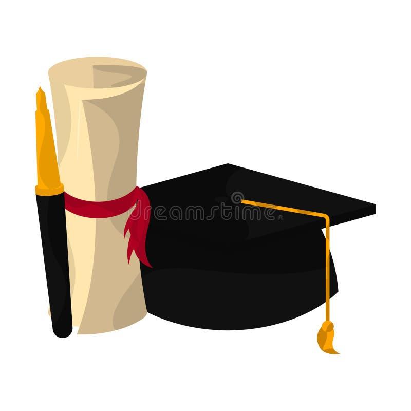 Graduation objects illustration. Graduation cap, diploma and pen. Graduation concept - Vector vector illustration