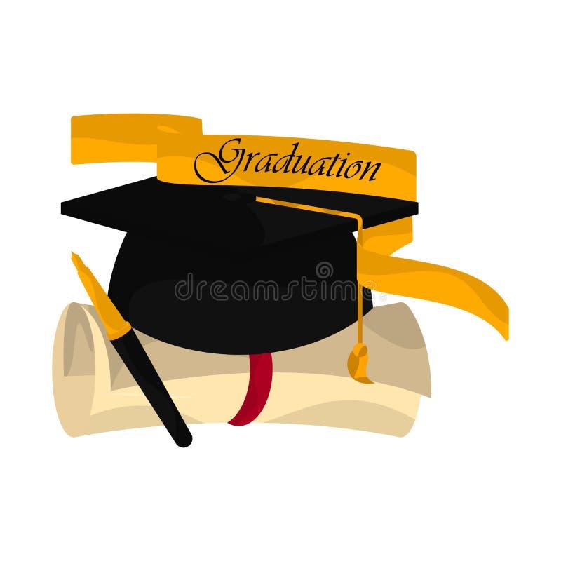 Graduation objects illustration. Graduation cap, diploma, pen and ribbon. Graduation concept - Vector royalty free illustration