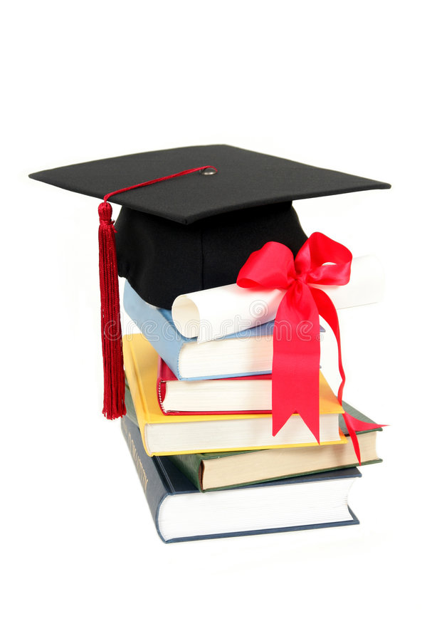 Download Graduation Cap And Diploma On Stack Of Books Stock Image - Image: 1458537