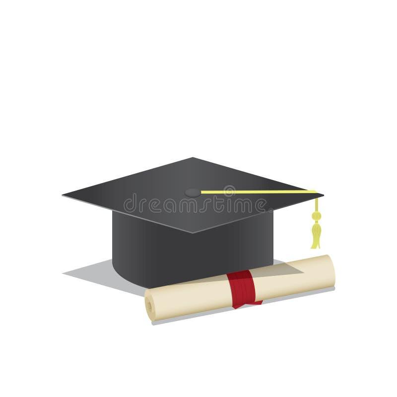 Graduation Cap And Diploma A Symbol Of Graduation On White Back