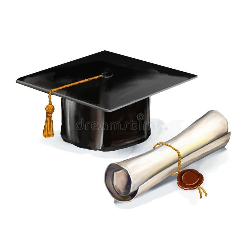 Graduation cap and diploma vector illustration. Hand drawn painted watercol vector illustration