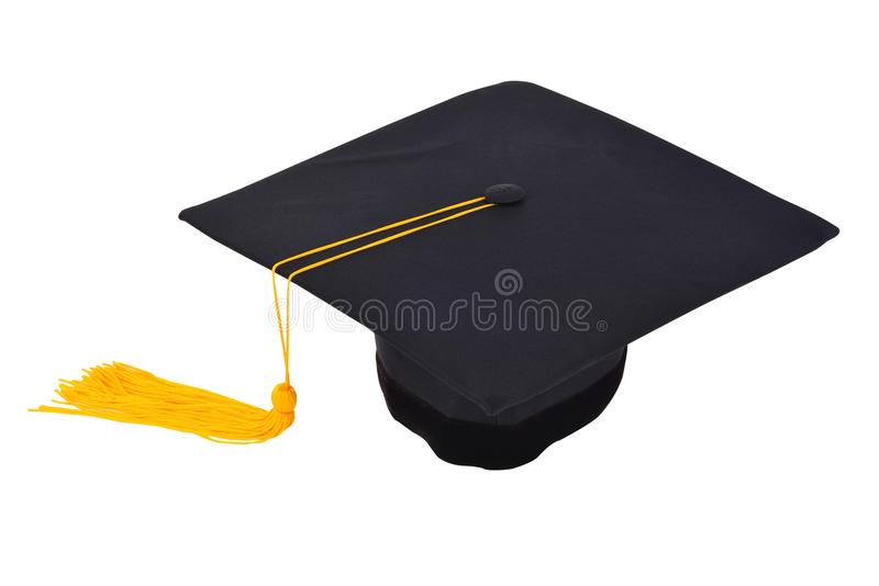 Graduation cap with gold tassel isolated on white background wit stock photos