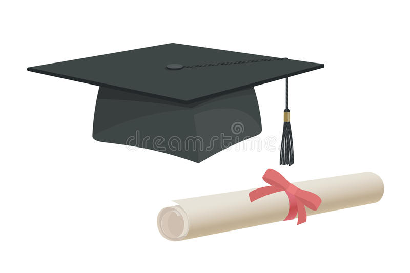 Graduation cap hat and certificate university academy diploma college bachelor prom icon element flat cartoon design royalty free illustration