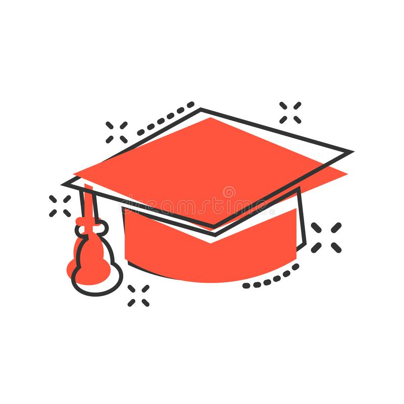 Graduation cap icon in comic style. Education hat vector cartoon illustration on white isolated background. University bachelor. Business concept splash effect stock illustration