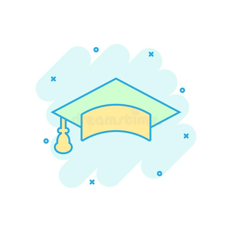 Graduation cap icon in comic style. Education hat vector cartoon illustration on white isolated background. University bachelor. Business concept splash effect vector illustration
