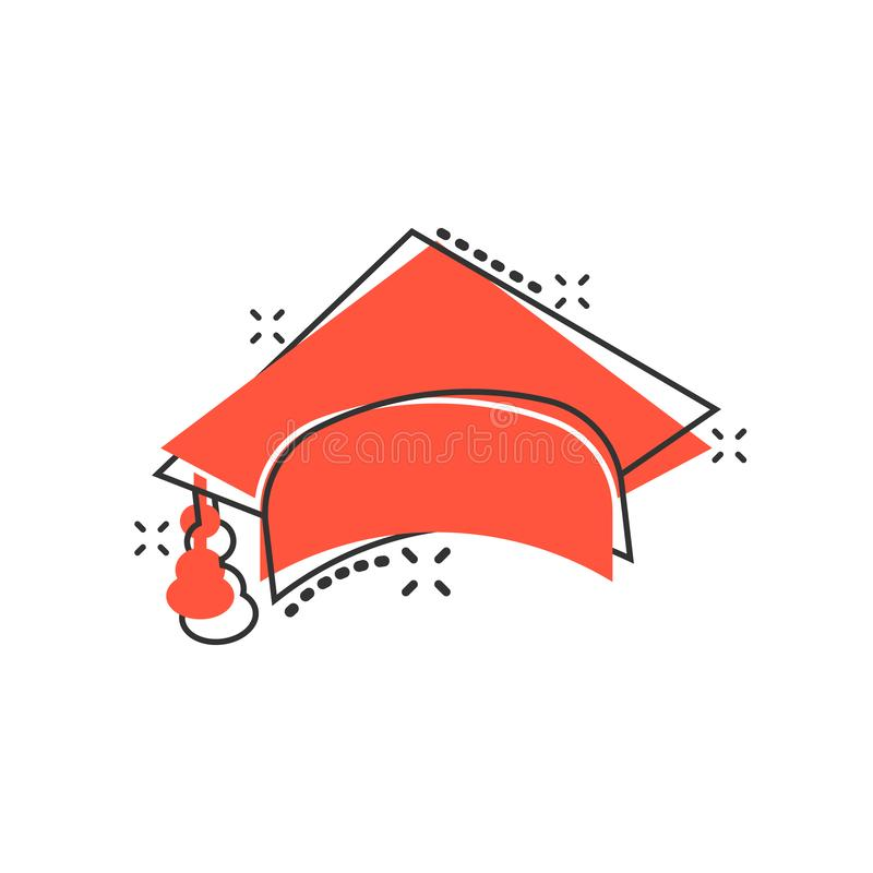 Graduation cap icon in comic style. Education hat vector cartoon illustration on white isolated background. University bachelor. Business concept splash effect royalty free illustration
