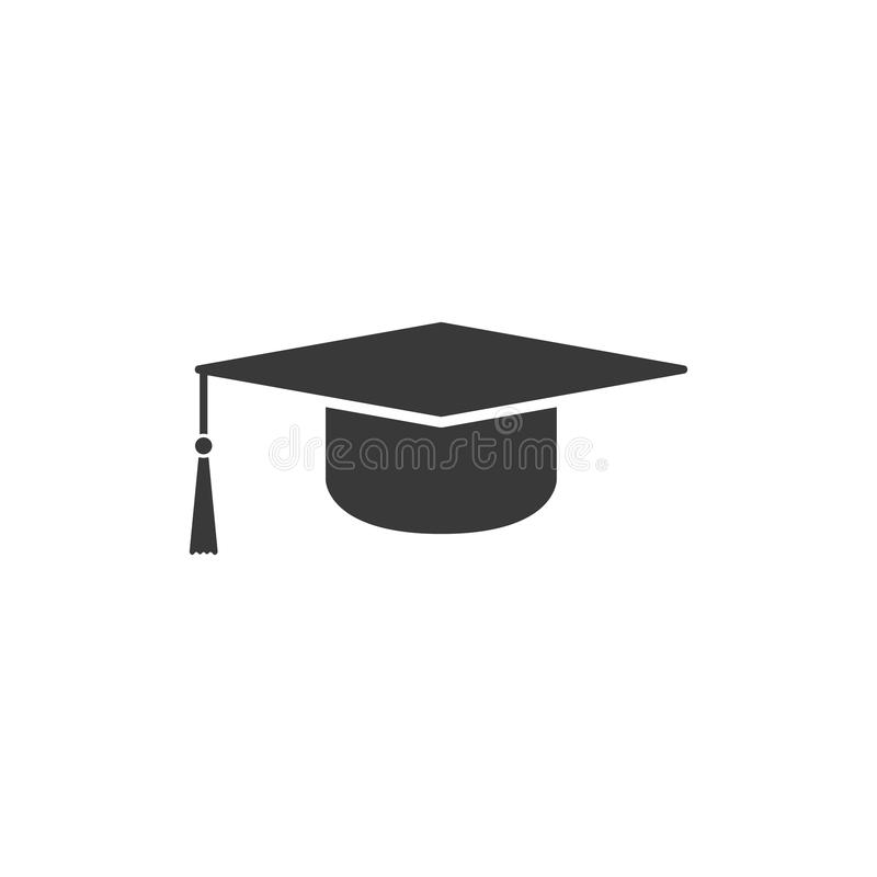 The graduation cap icon. Education symbol stock illustration