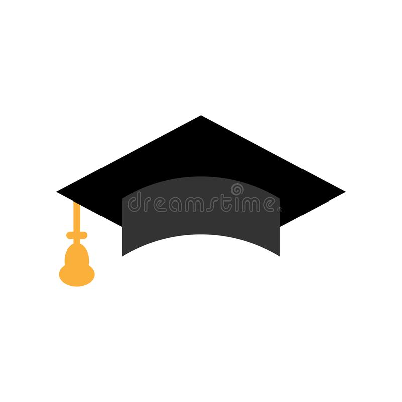 Graduation cap icon in flat style. Education hat vector illustration on white isolated background. University bachelor business. Concept stock illustration