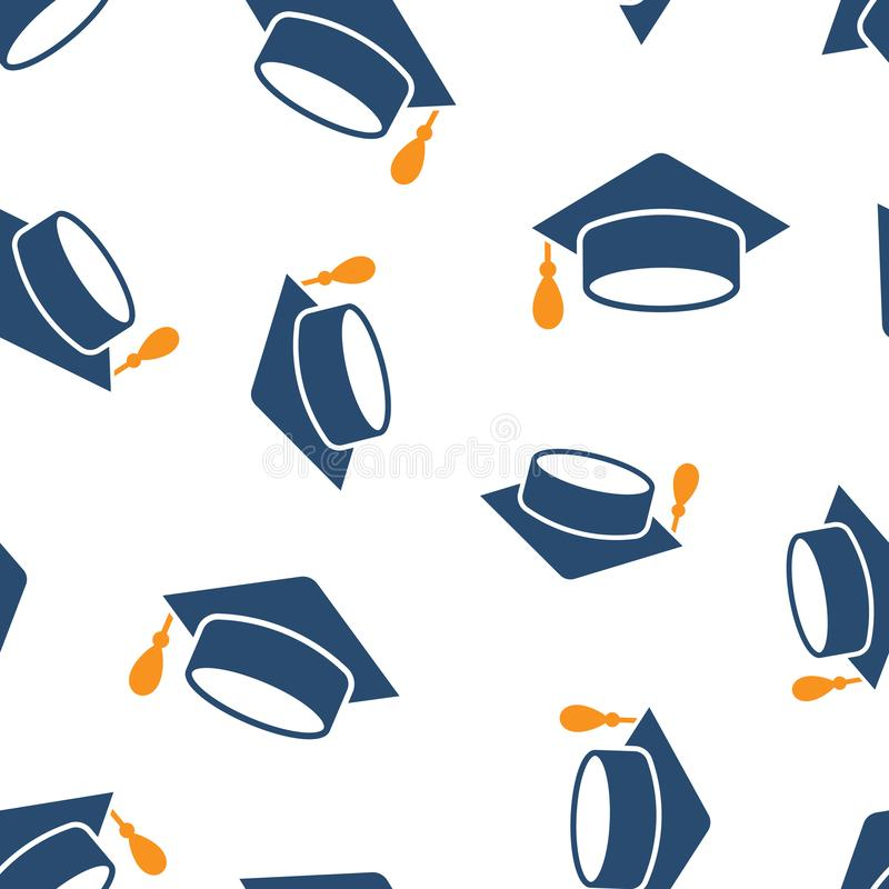 Graduation cap icon seamless pattern background. Education hat vector illustration on white isolated background. University. Bachelor business concept stock illustration