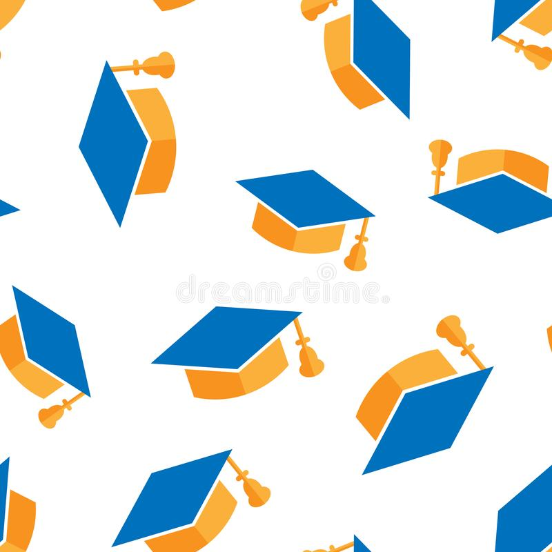 Graduation cap icon seamless pattern background. Education hat vector illustration on white isolated background. University. Bachelor business concept royalty free illustration