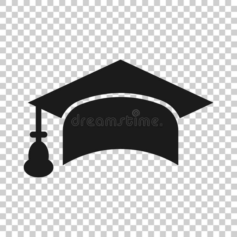 Graduation cap icon in transparent style. Education hat vector illustration on isolated background. University bachelor business. Concept vector illustration