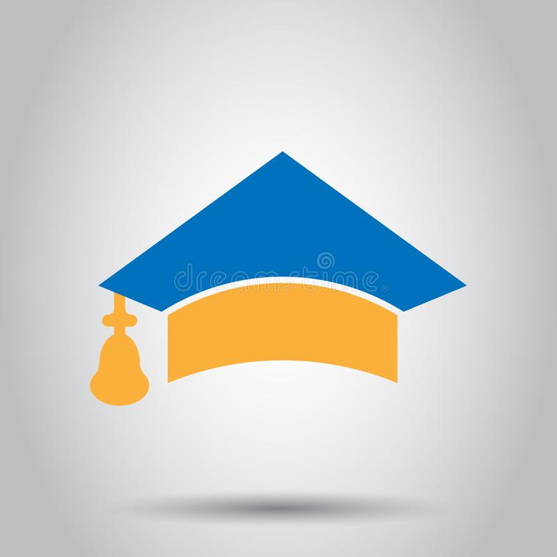 Graduation cap icon in transparent style. Education hat vector illustration on isolated background. University bachelor business. Concept royalty free illustration