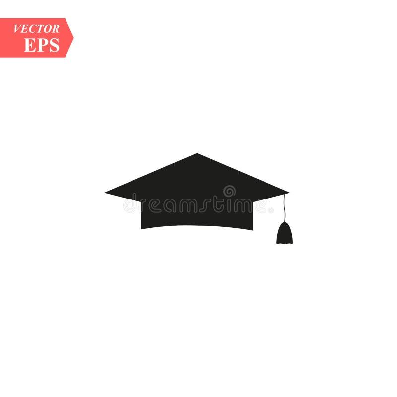 Graduation cap icon. White background with shadow design. Vector illustration. eps10 stock illustration