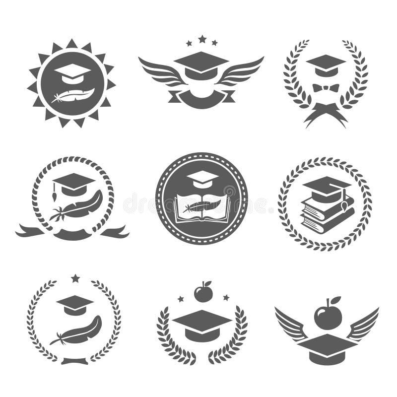 Graduation cap labels set. College study, diploma and hat logo design Vector royalty free illustration