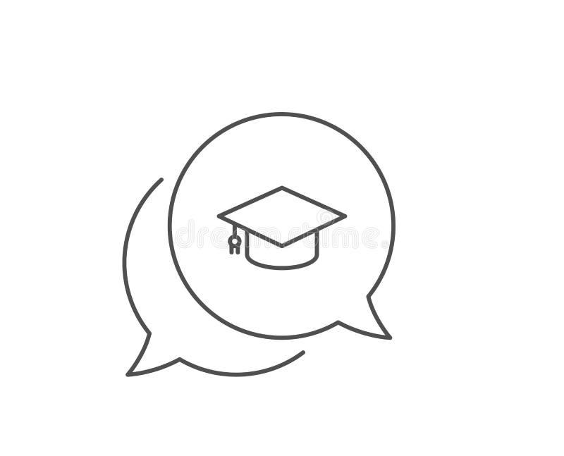 Graduation cap line icon. Education sign. Vector royalty free illustration