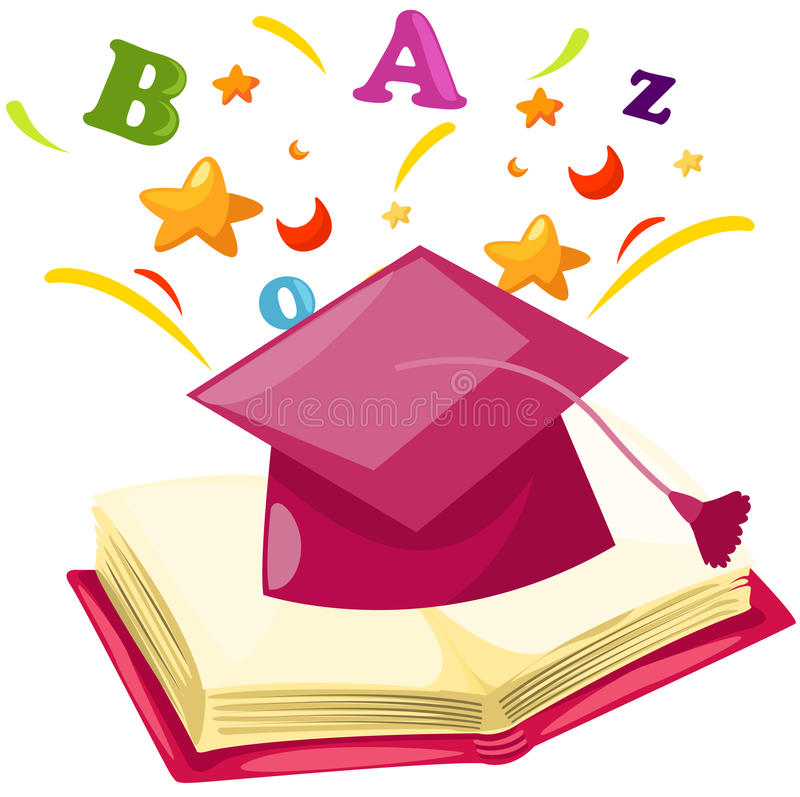 Graduation cap with open book stock illustration