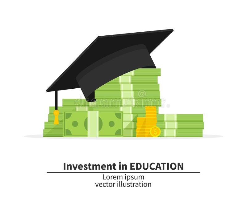 Graduation cap on pile of money and coins. oncept of education costs. Spending education money investment flat. Study royalty free illustration