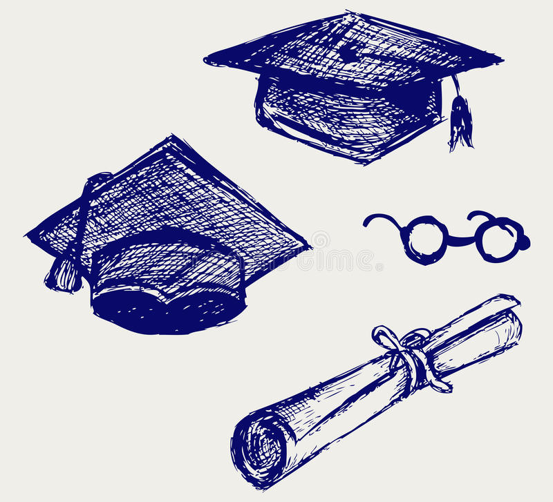 Graduation cap, points and diploma. Doodle style stock illustration