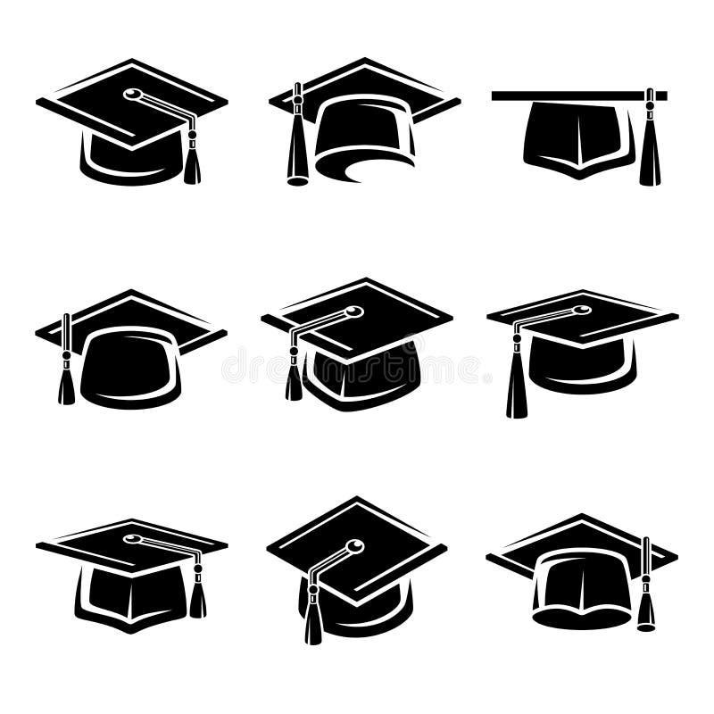 Free Graduation Cap Set. Vector Royalty Free Stock Photography - 46027427