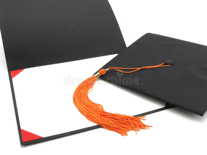 Graduation cap, tassel, and empty diploma frame royalty free stock photos