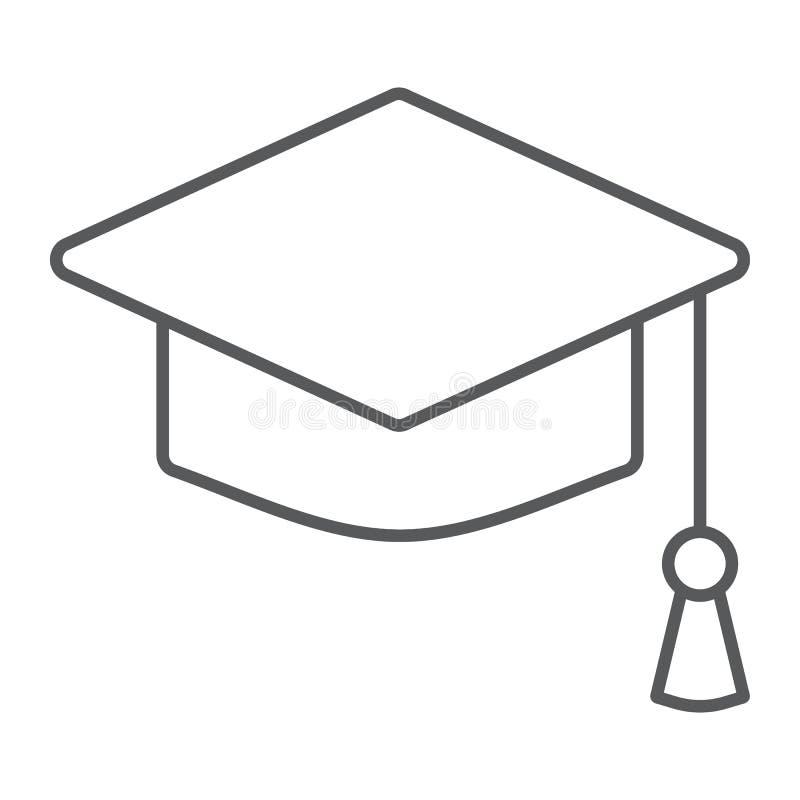 Graduation cap thin line icon, school education vector illustration