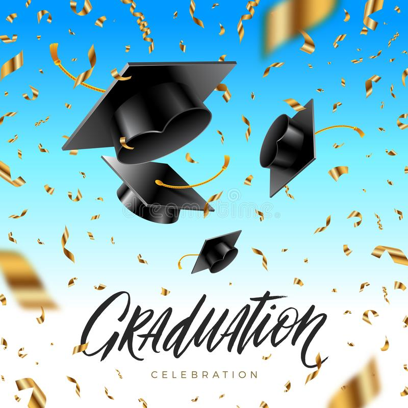 Graduation cap thrown up and golden foil confetti on a blue sky background. stock illustration