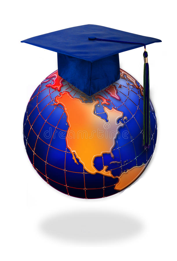 Graduation cap on top of world. Academic graduation cap or mortarboard on top world globe with North American continent in foreground; isolated on white stock images