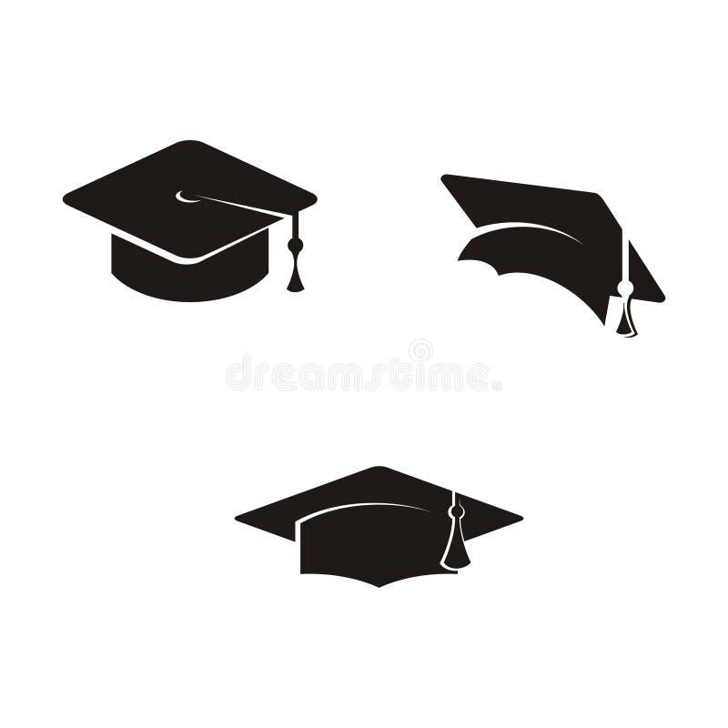 Graduation cap vector illustration, academy hat symbol flat simple cartoon design stock illustration