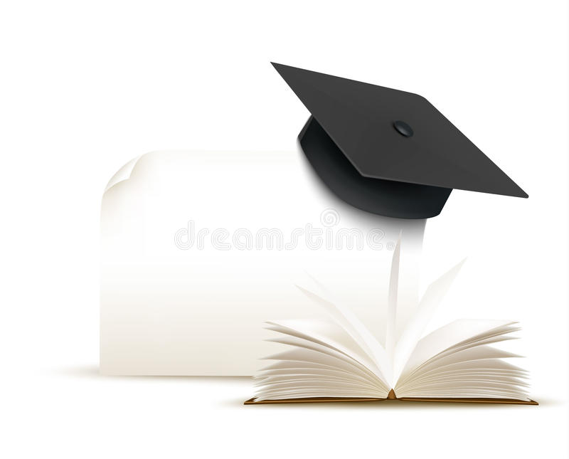 Graduation Cap On White Background With A Book. Stock