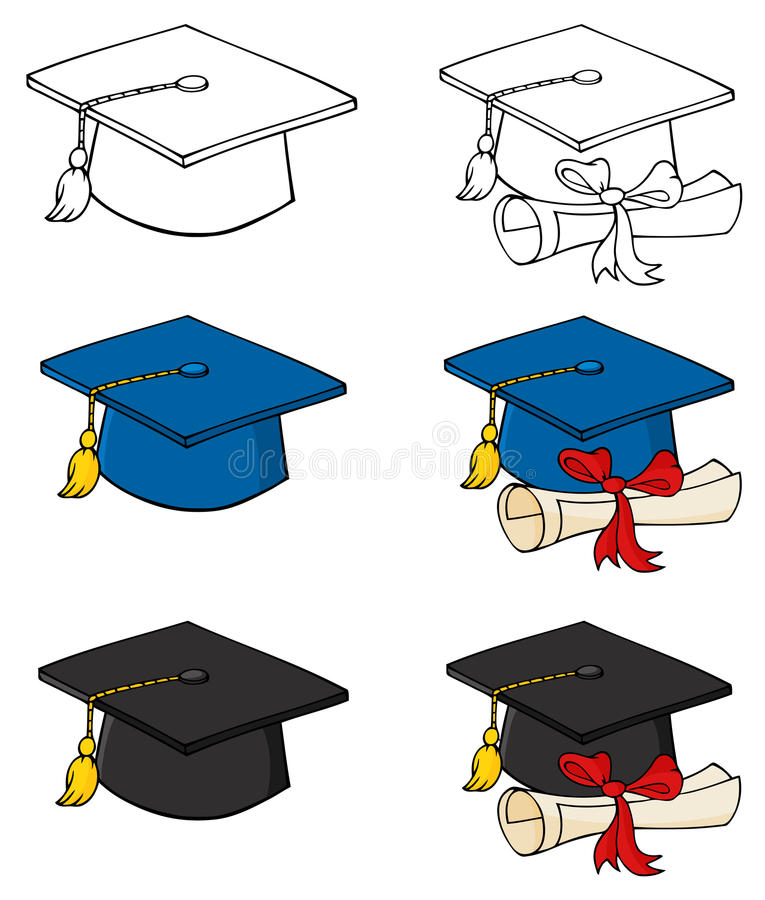Graduation caps stock illustration