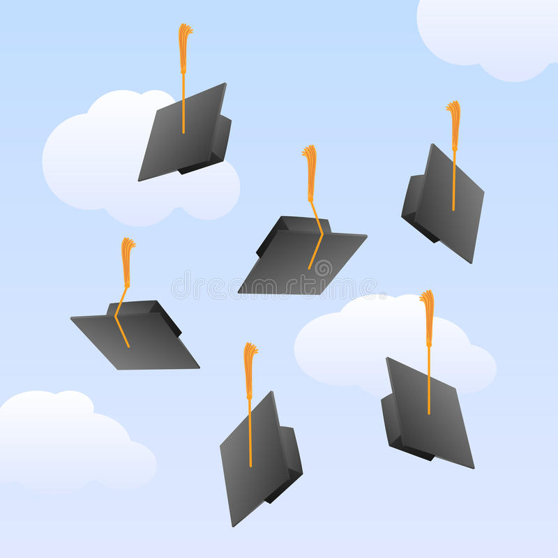 Graduation caps in the air stock illustration