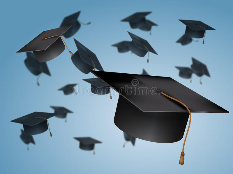 Graduation Caps in the Air vector illustration