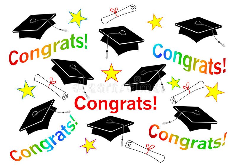 Graduation Caps and Congrats royalty free illustration