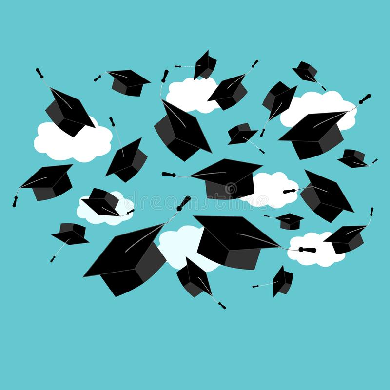 Graduation caps fly in the air in a moment of celebration. Abstract element for graduation ceremony design. Vector. Graduation caps fly in the air in a moment of stock illustration