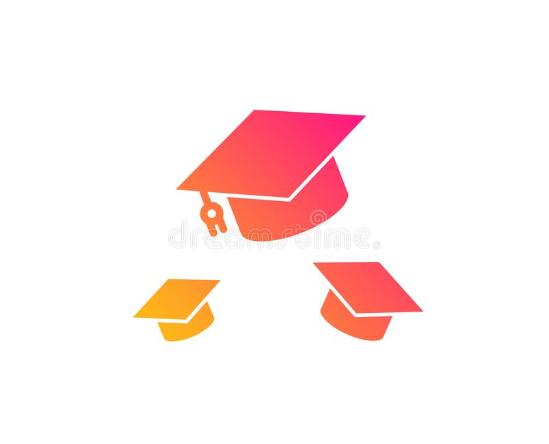 Graduation caps icon. Education sign. Vector royalty free illustration
