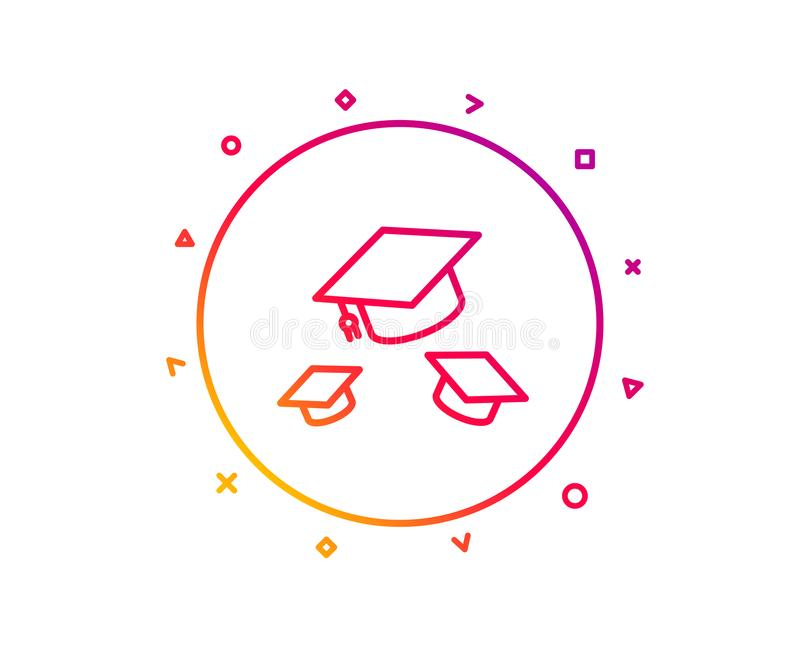 Graduation caps line icon. Education sign. Vector vector illustration