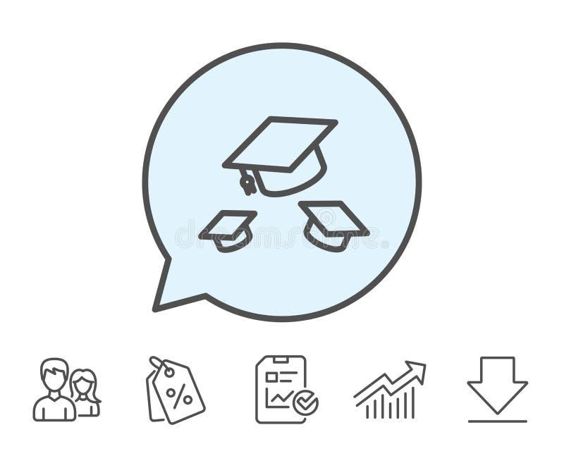 Graduation caps line icon. Education sign. royalty free illustration