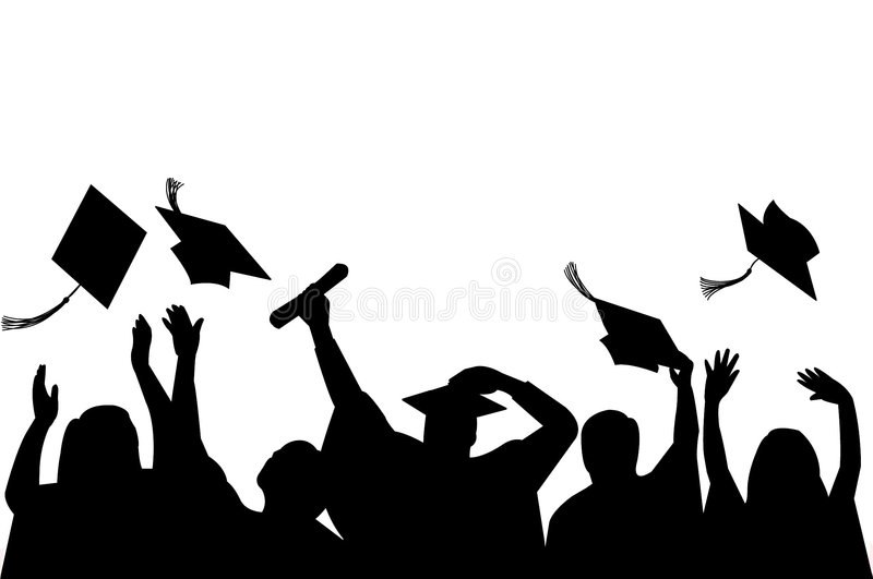 Graduation Celebration/eps. Illustration of a group of graduates tossing their caps in celebration of graduation. eps file available, each person can be used