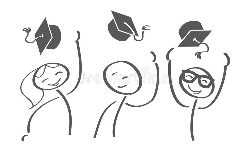 Graduation Caps Thrown in the Air royalty free illustration