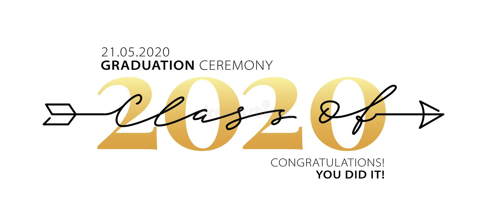 Graduation ceremony Class of 2020. Modern calligraphy. Lettering logo. Graduate design yearbook. Vector illustration. Graduation ceremony Class of 2020 with royalty free illustration