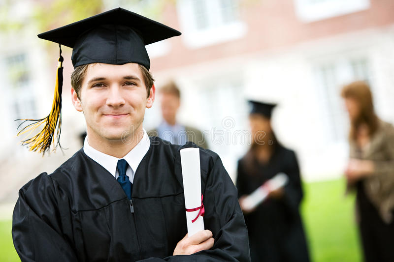 Graduation: Cheerful Graduate with Diploma royalty free stock images