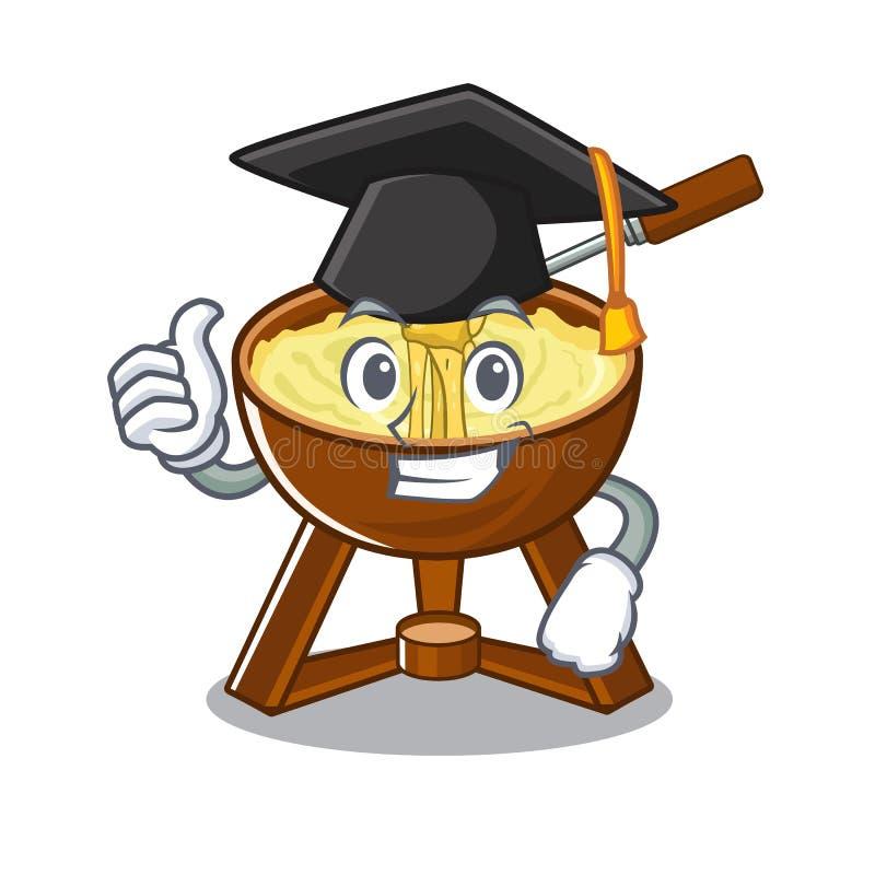 Graduation cheese fondue with in mascot shape. Vector illustration stock illustration