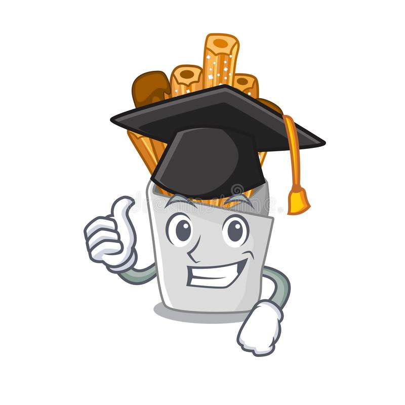 Graduation churros isolated with in the cartoon. Vector illustration royalty free illustration