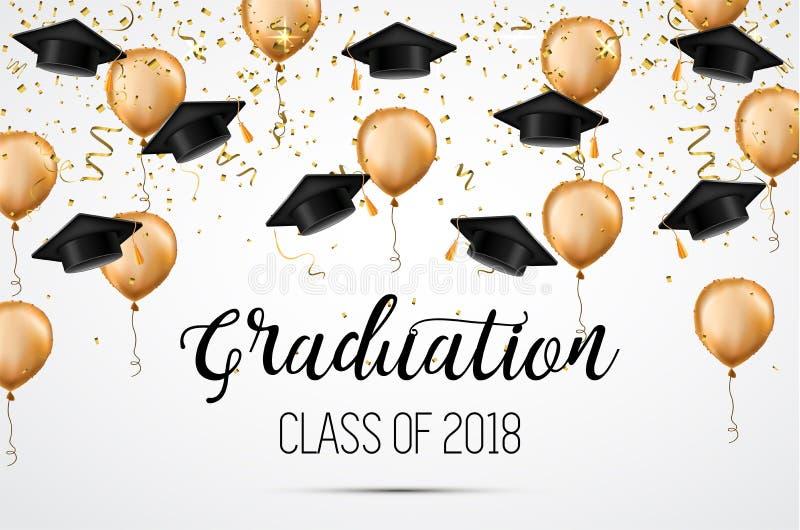 Graduation class of 2018. Congratulations graduates. Academic hats, confetti and balloons. Celebration. . Graduation class of 2018. Congratulations graduates royalty free illustration
