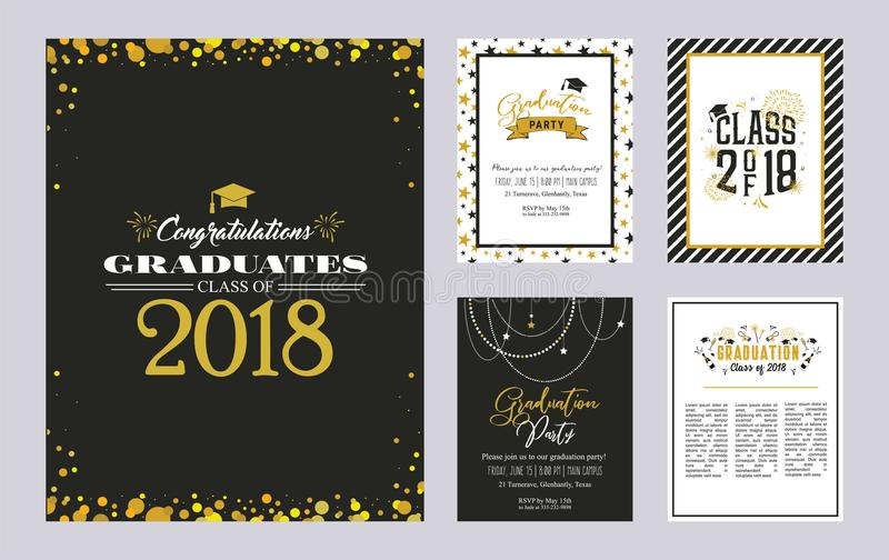 Graduation Class of 2018 greeting card and invitation template set. Vector party invitation. Grad poster. vector illustration