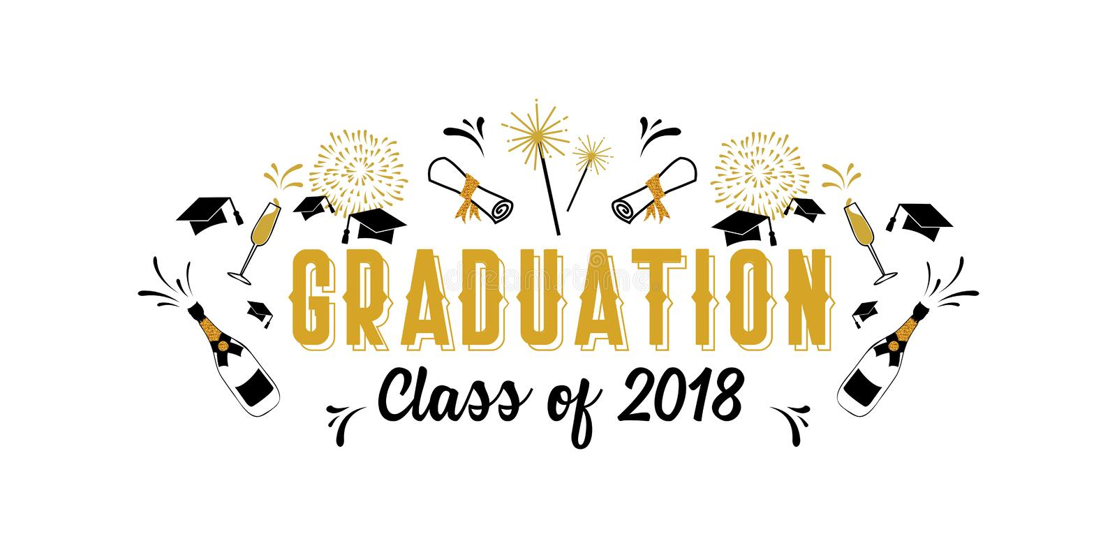 Graduation Class of 2018 greeting card and invitation template. Vector party invitation. Grad poster. stock illustration