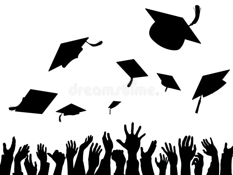 Graduation Convocation Celebration Caps Silhouette vector illustration