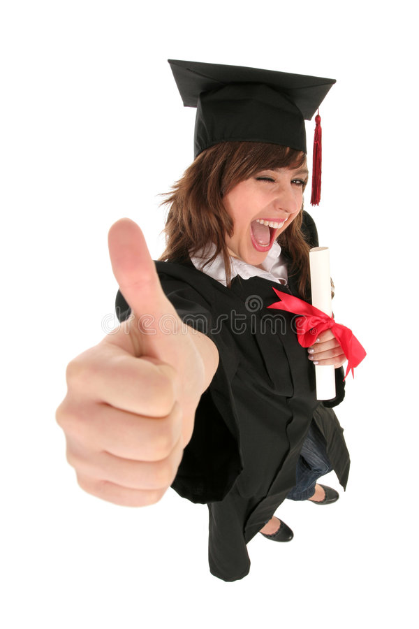 Graduation d'étudiant féminin image stock